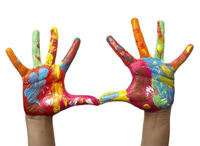 a childs hand with paint on them